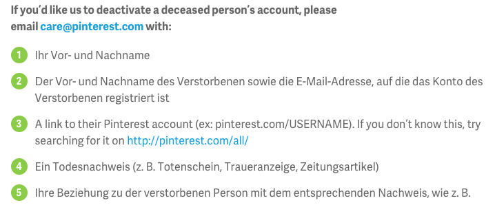 Account Loeschung bei Pinterest nach Tod