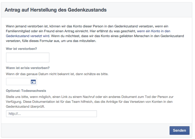 Facebook Gedenkzustand nach Todesfall