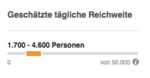 Facebook AD - tägliche Reichweite