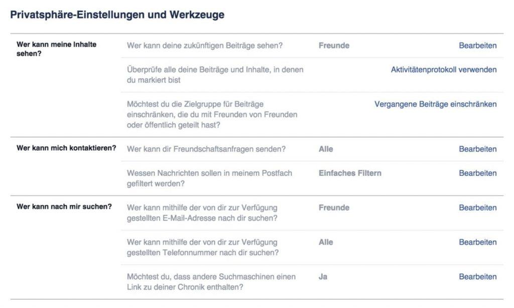Privatsphäre bei Facebook einrichten