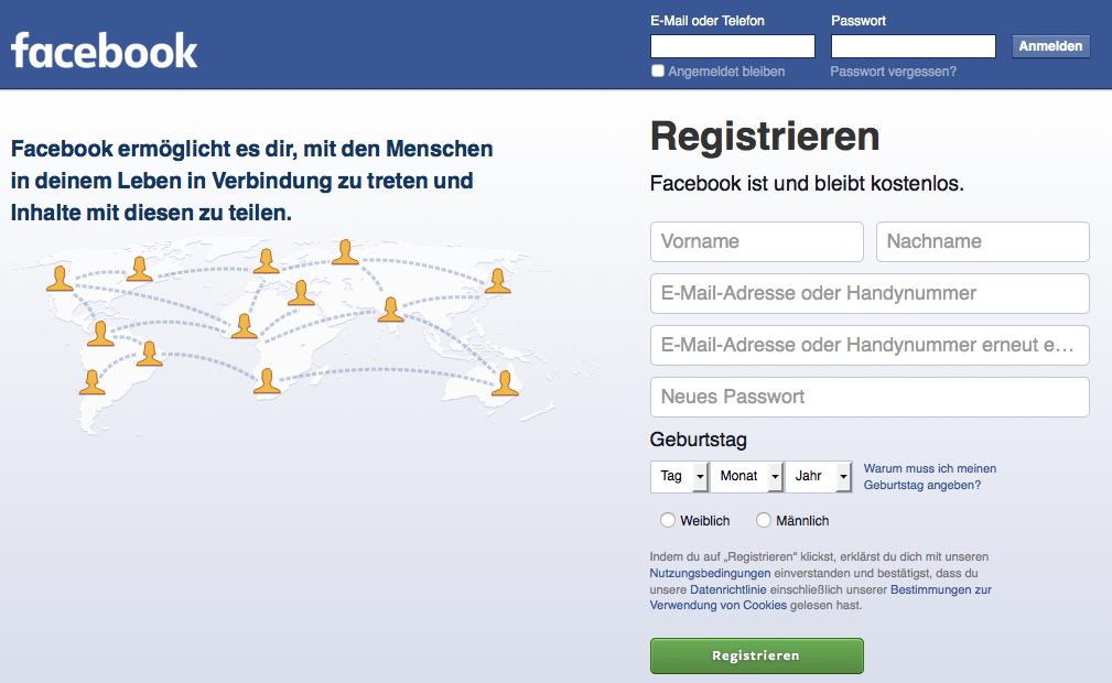 Bei Facebook registrieren