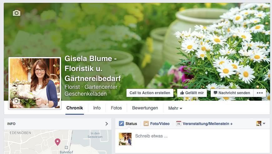 Facebook-Seite Blumengeschäft