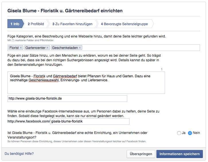 Facebook Seiteneinrichtung Schritt 1
