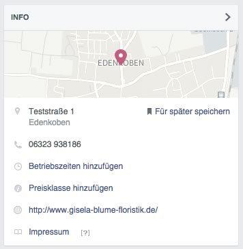 Infobox der Facebook-Seite