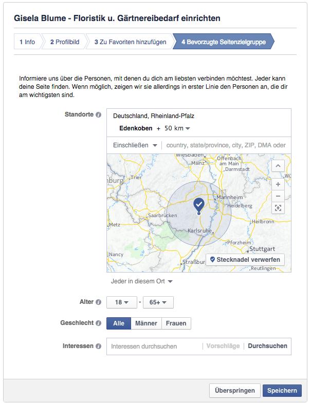 Facebook Seite erstellen - Interessen und Zielgruppe