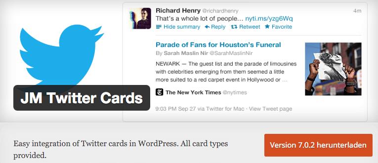 Wordpress Plugin für Twitter Cards