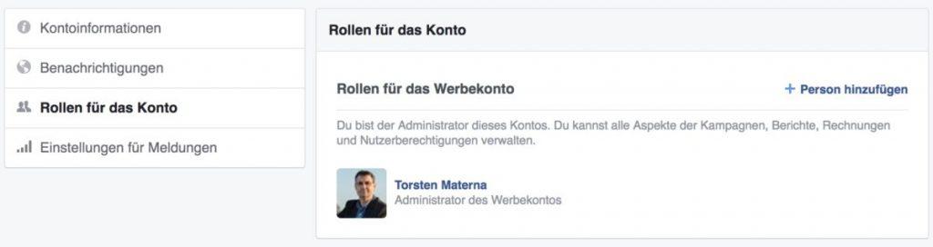 Facebook Rollen Werbekontomanager
