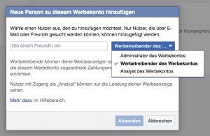 Neuer Benutzer für Facebook Werbekonto