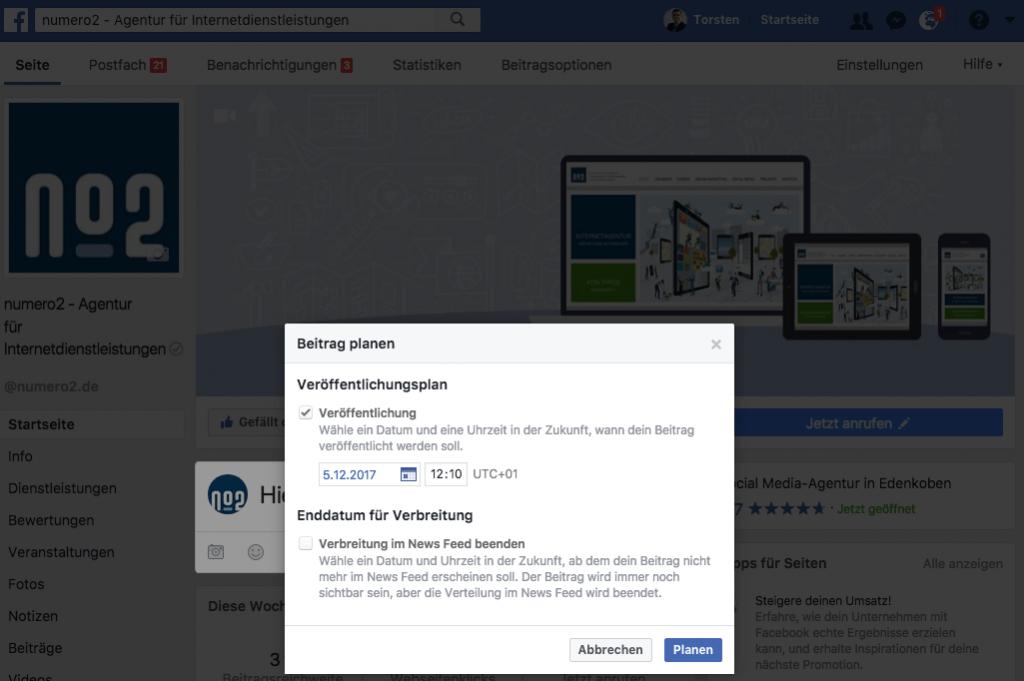 Facebook Beitrag planen - Veröffentlichungstermin