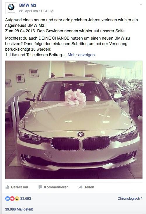 Facebook Fake Gewinnspiel - BMW