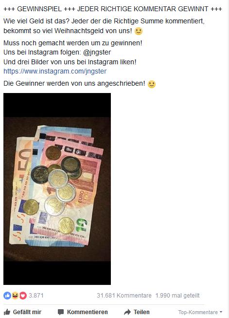 Facebook Fake Gewinnspiel - Geld raten