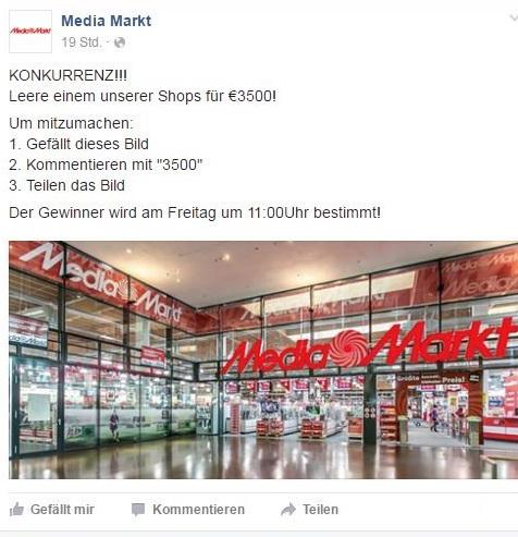 Facebook Fake Gewinnspiel Media Markt leerkaufen