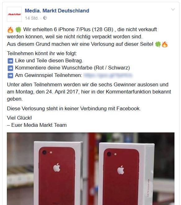 Facebook Fake Gewinnspiel Media Markt iPhone