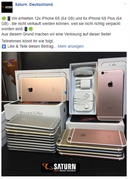 Facebook Fake Gewinnspiel - Saturn iPhone