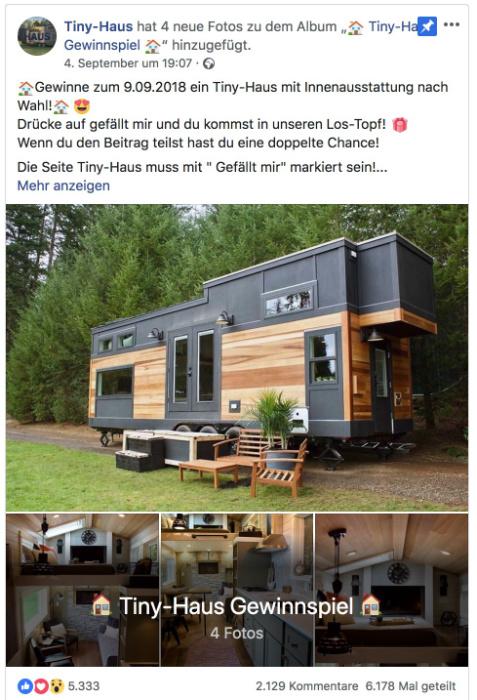 Facebook Fake Gewinnspiel Tiny Haus