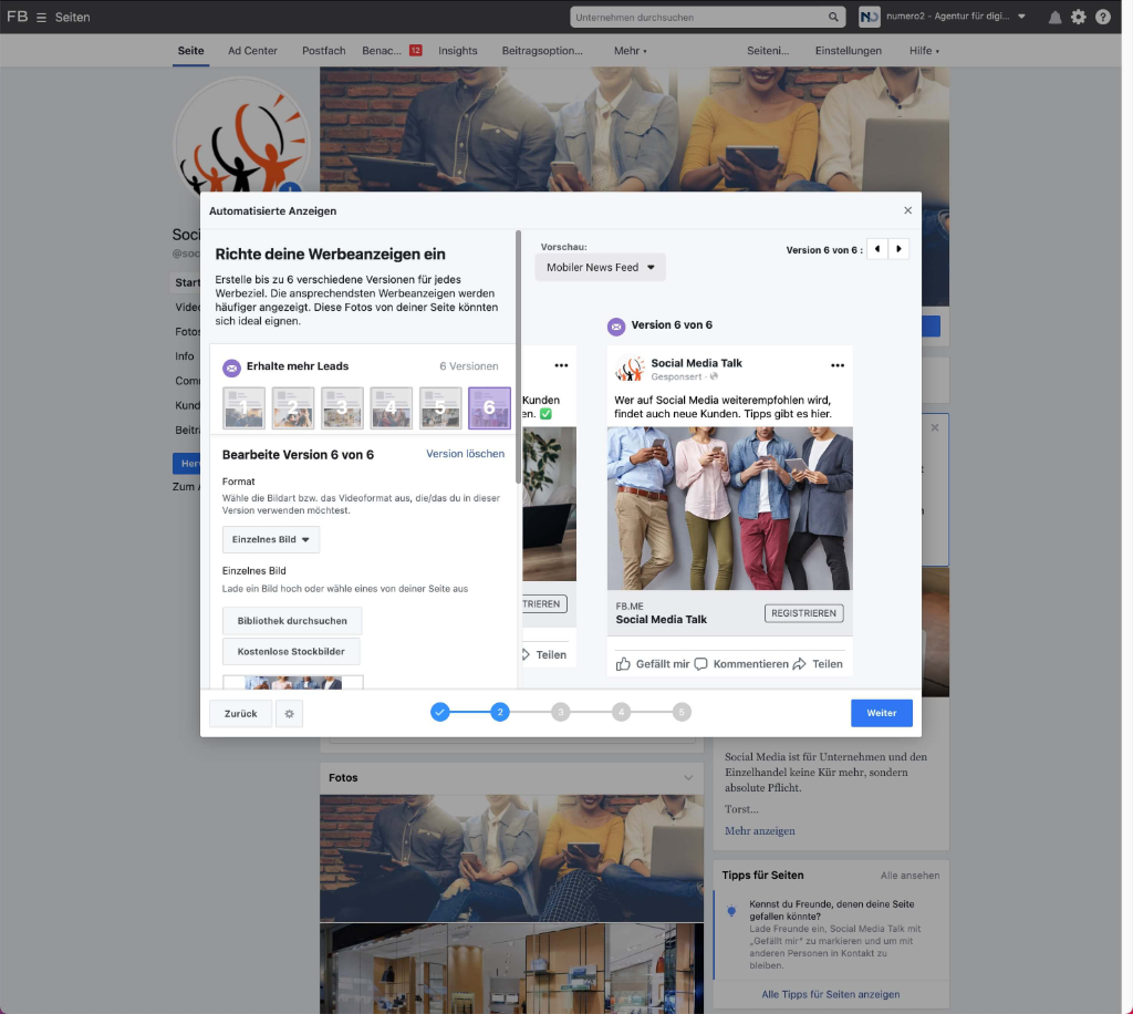Facebook Lead-Ad erstellen - Grafiken