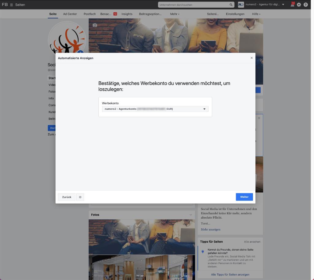 Automatisierte Werbeanzeige bei Facebook - so geht's - Schritt 3